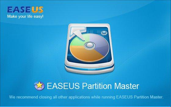 Startbildschirm von Easus Partition Master