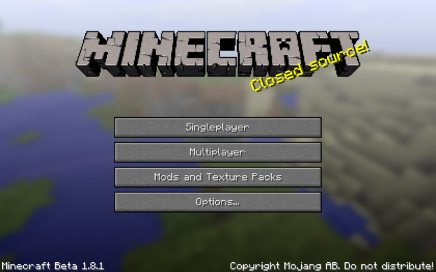 Minecraft 1.8.1 MainScreen